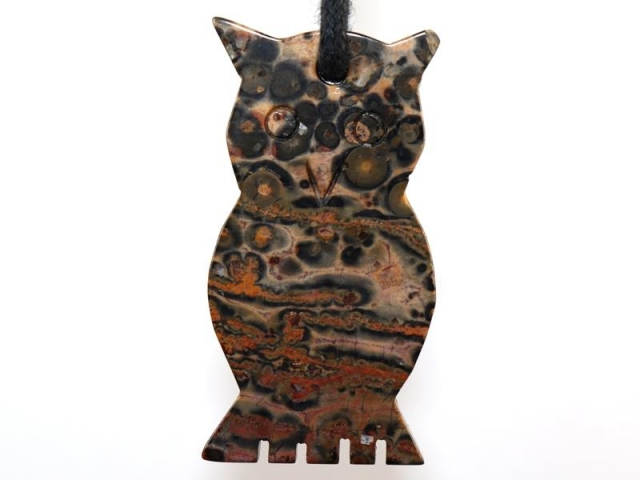Leopard rhyolite (owl) on cord - f.e. leather cord (necklace)