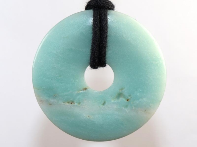 Amazonite (donut) on cord - f.e. leather cord (necklace)