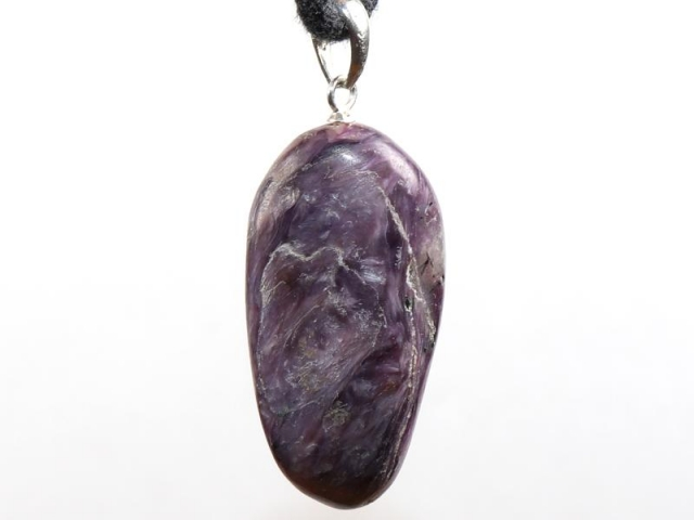 Charoite on cord - f.e. leather cord (necklace)