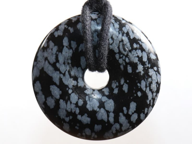 Snowflake obsidian on cord