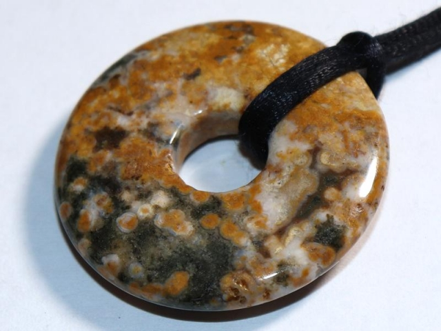 Ocean jasper (donut) on cord - f.e. leather cord (necklace)