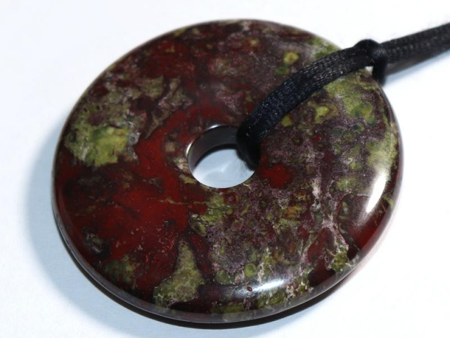 Dragon blood jasper (donut) on cord - f.e. leather cord (necklace)