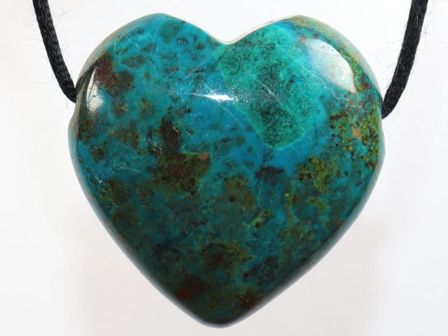 Chrysocolla (heart) on cord - f.e. leather cord (necklace)