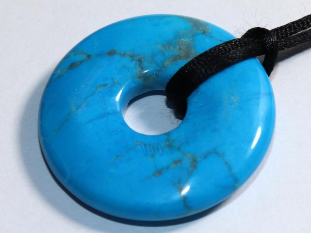 Turquoise (rec.) - donut on cord - f.e. leather cord (necklace)