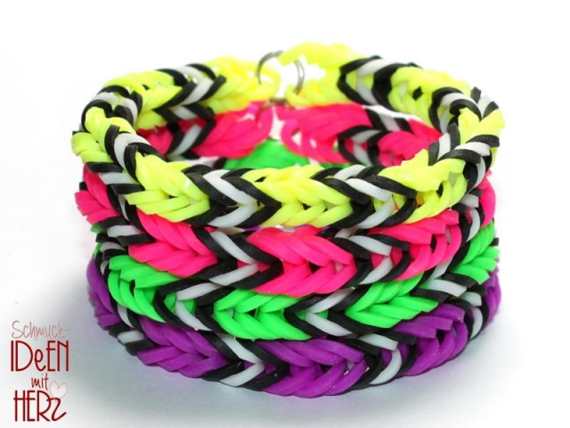 4 x Loom Armband - Ne-on - SET