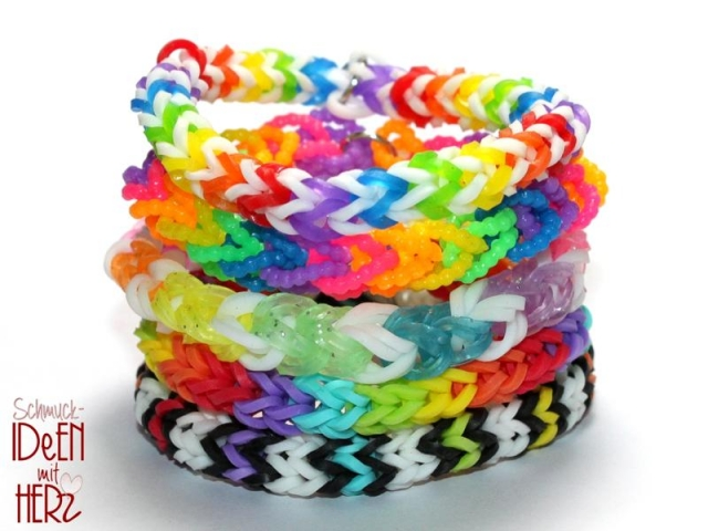 5 x Loom Armband - Mix I - SET