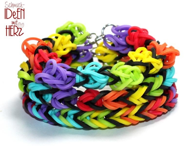3 x Loom Armband - Rainbow I - SET