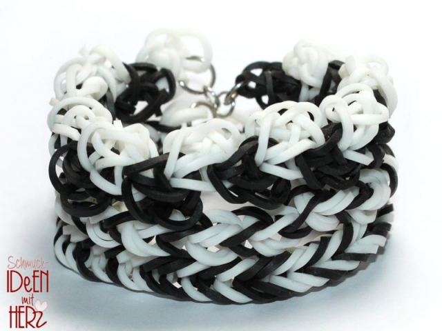 3 x Loom Armband - Black & White II - SET
