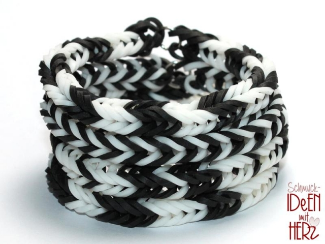 4 x Loom bracelet - Black & White I - SET